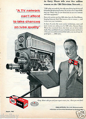1956 Print Ad of CBS Columbia Broadcasting System Camera Tubes with Garry Moore