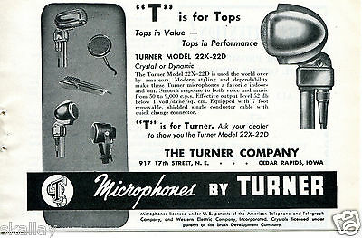 1948 Print Ad of Turner Model 22X-22D Microphone