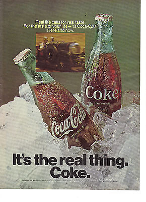 1969 Coca Cola Coke Its the Real Thing Race Car Print Ad