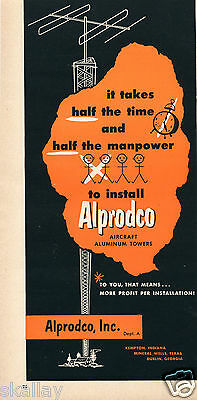 1952 Print Ad of Alprodco Inc Aircraft Aluminum Towers