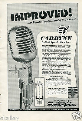 1948 Print Ad of Electro Voice EV Cardyne Cardioid Dynamic Microphone