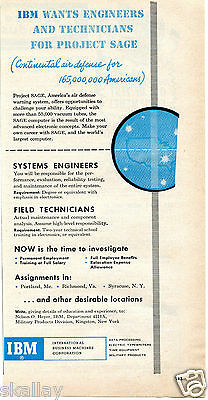 1956 Print Ad of International Business Machines IBM Project SAGE Air Defense