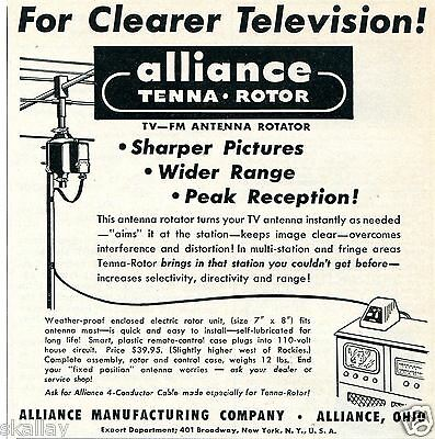 1949 Print Ad of Alliance TV-FM Tenna Rotor Antenna Rotator Alliance OH