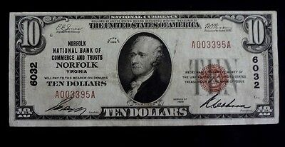 "1929-  $10- Federal Reserve Bank Note. ""norfolk"" ,va. National Currency"