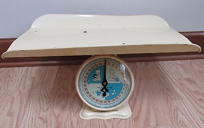 Vintage Yellow Baby Nursery Scale With Tray 30 lb Babies, Animals