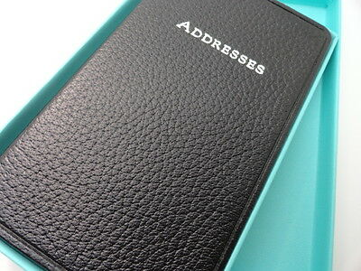 """Tiffany & Co. 5 1/2' by 3 1/2"""" Black Leather Address Book"""