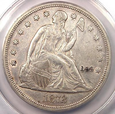 1872 Seated Liberty Silver Dollar $1 - ANACS AU50 Details - Rare Early Date Coin