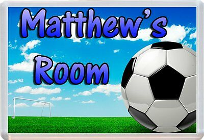 Personalised Any Name Football Childs Door Plaque Sign Ideal For Bedrooms D2