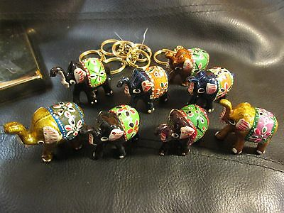 Lot of 8 Colorful Hand Painted India? Lucky Elephants w/ Keychain Attachments