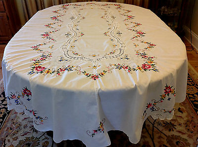 """Gorgeous Vintage Tablecloth Small Cross Stitch Crochet Oval Floral 98 x 66"""" Mint"""
