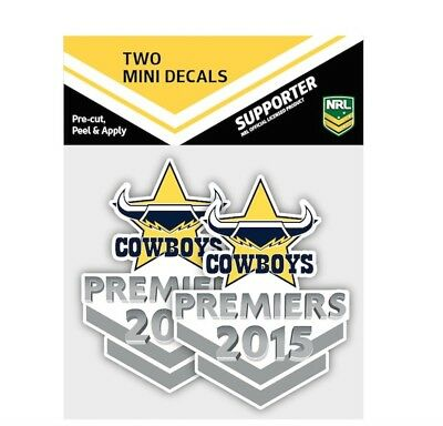 North Queensland Cowboys NRL 2015 Premiers Mini Decal Stickers * 2 per packet