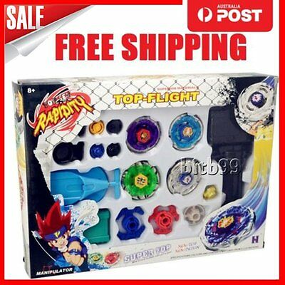 New 4D Fusion Top Metal Master Rapidity Fight Rare Beyblade Launcher Grip Set TS
