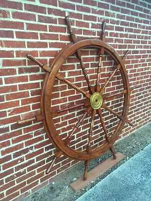 Ships Boat Wheel Nautical Collectable Vintage Antique Teak