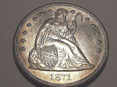 1871 Seated Liberty Silver Dollar $1 AU About Uncirculated Higher Grade Details