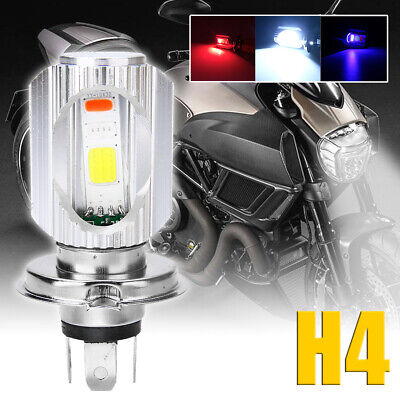 H4 Motorcycle COB LED Headlight Hi/Lo Beam Front Light Bulbs Lamps 3 Color 6500K