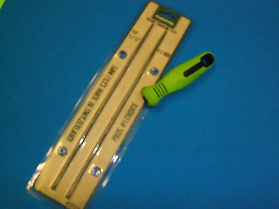 """NEW TWO 13//64/"""" ROUND CHAINSAW FILES /& FILE HANDLE FITS LG 3//8/"""" FREE SHIPPING"""