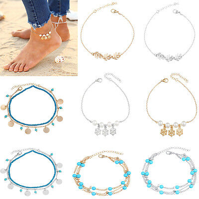 New Summer Vintage Turquoise Snow Anklet Foot Chain Leaf Anklet Beach Jewelry