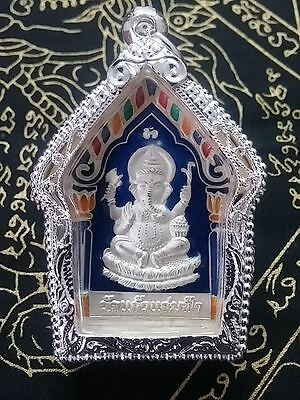Phra Pikaned Thai Buddha Amulet with Phra Phrom At The Back-Year2557