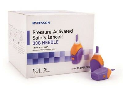 McKesson Pressure-Activated Safety Lancets 30G (1.5 mm Depth) Box of 100