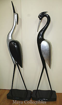 "Wood Sculpture Flamingo Bird Black Lacquer Silver Large 70"" Mid Century Art Deco"