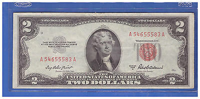 1- Old Vintage 1953A Series $2 Dollar Bill Red Seal United States Currency LS796