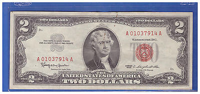1- Old Vintage 1963 Series $2 Dollar Bill Red Seal United States Currency LS963