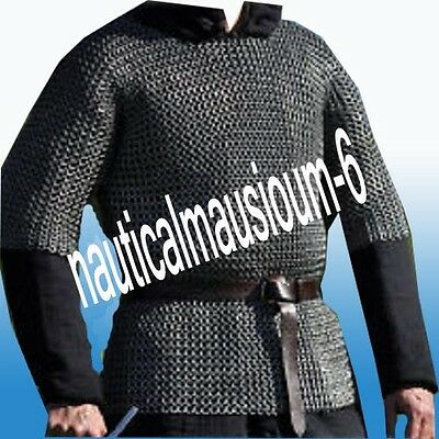 Anitque Medival Wedge Riveted Flat Ring Chainmail Shirt Half Sleeve Large Size