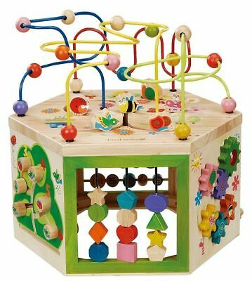 Everearth - 7-in-1 Garden Activity Cube Educational Wooden Toy
