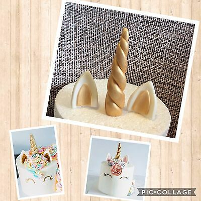 Unicorn Edible Unicorn Ear Horn cupcake topper/decoration Fondant Gold 12cm