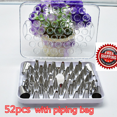 Set of 52 Icing Piping Sugarcarft Nozzles for Cake Decorating with free Bag UK