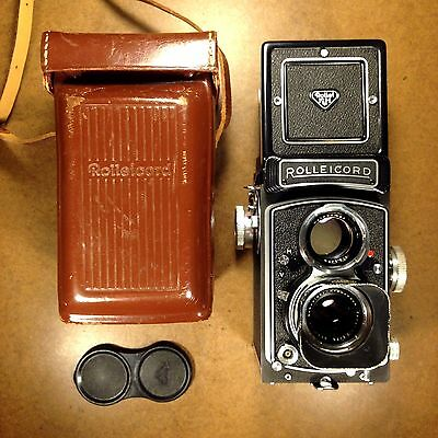 FILM TESTED/EXC+ Rollei Rolleicord Vb 6x6 TLR Camera/75mm Lens/Case/Cap/Hood