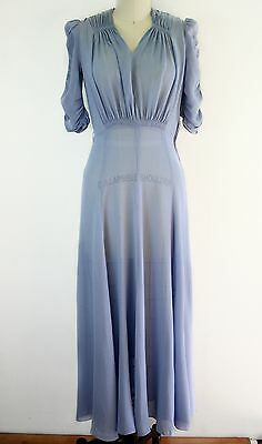 Vintage 1930s 1940s semi sheer dusty blue long puff sleeve gown dress - xs / s