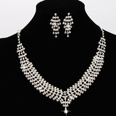 Silver Diamante Wedding Party Bride Bridal Necklace Earrings Jewellery Set Prom
