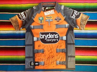 ✺Signed✺ 2017 WESTS TIGERS Rocket Raccoon NRL Jersey PROOF COA Marvel