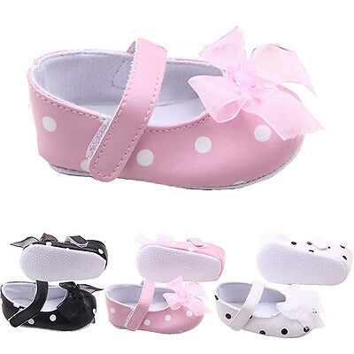 0-12M Newborn Baby Girls Toddler Crib Shoes Anti-Slip Bowknot Princess Prewalker