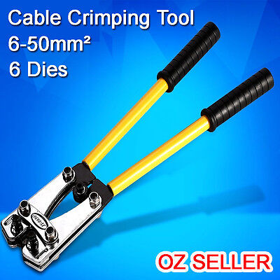 NEW 6-50mm² Cable Crimper Crimping Electrical Rotate Tool Battery Lug 6 Dies AU