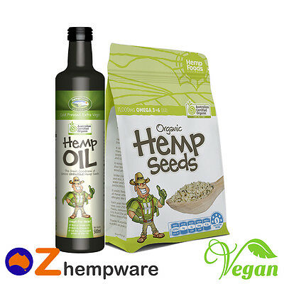 Hemp Seeds Oil Starter Pack Australian Certified Organic Vegan Hemp Foods