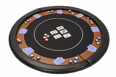 Riverboat Folding Poker Table Top in Black Speed Cloth and Leather Armrest 120cm