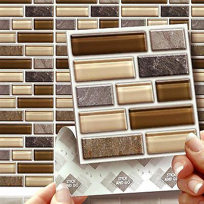8 Peel, Stick & Go Glass Stone Tablet Wall Tiles Stickers for Kitchens Bathrooms