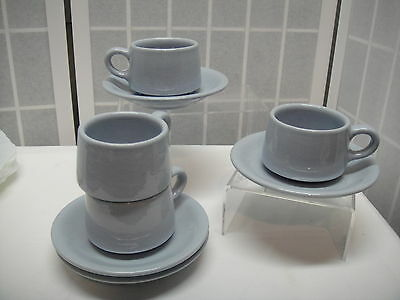 Buffalo China, Lune, Pale Blue, Restaurant ware, Cup & Saucer, 4 sets, lot 1
