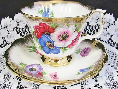 Royal Albert Anemone Floral Heavy Gold Gilt Tea Cup And Saucer
