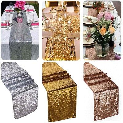 "12""x118"" Gold Sequin Table Runner Wedding Party Decorations Table Decoration CS"