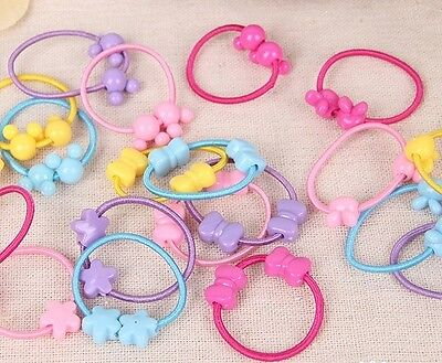 50pcs Girls Kids Hair Elastic/Band/Ponytail Holder/Tie Many Designs/Colors Bulk