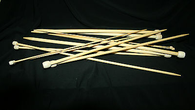 25 cm PAIR CARBONISED BAMBOO KNITTING NEEDLES sizes 2 mm -10 mm Single Pointed