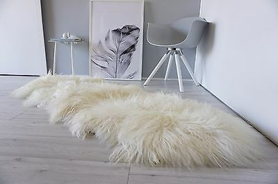 Genuine Mongolian Style Icelandic Double Sheepskin Rug - White Curly Wool DM 15