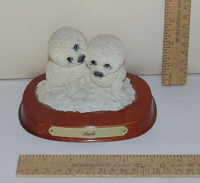 White Seal Figures on Wooden Base - Endangered Young'uns - Ruth  & Bill Morehead