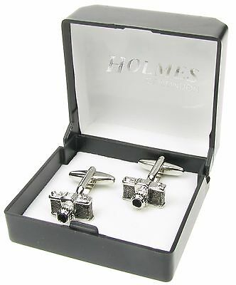 Novelty Camera Photographer Cufflinks Mens Silver Shirt Xmas Free Giftbox New Uk