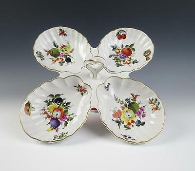 Large Herend Market Garden 4 Part Serving Tray Porcelain Fruit Insects Shell Nut