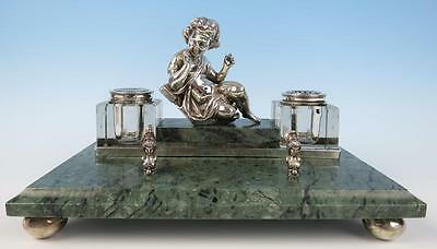 Vintage Silver Plate Green Marble Inkstand Figural Putti Etched Glass Inkwell
