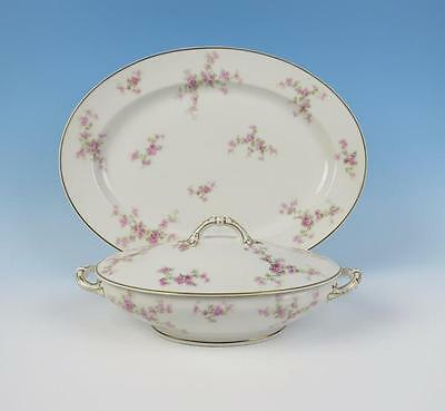 "Antique Haviland Limoges 16"" Platter & Vegetable Tureen Pink Roses Porcelain"